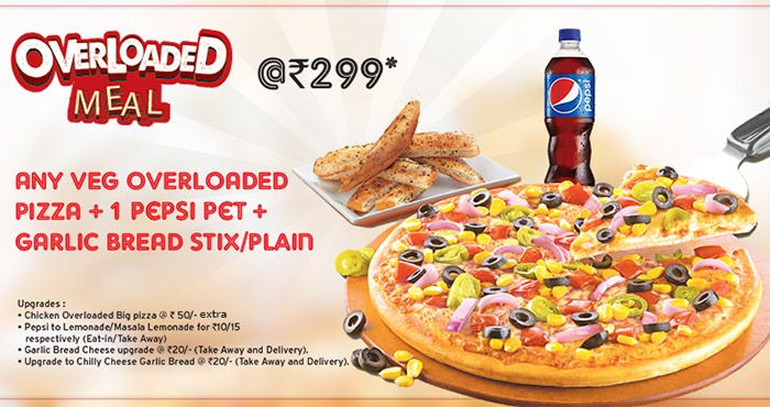 Hungry! Overloaded Meal at Pizza Hut​ - Overloaded Pizza + Pepsi + Bread for Rs 299 #Pizzahut #Pizza #Pepsi #Food #Shopping #india #Discount