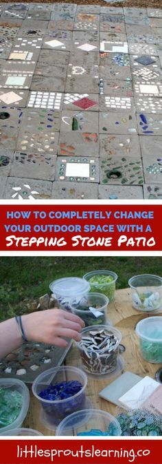 Would you love to have a unique and personal place to hang out in the yard? You can make your own unique homemade stepping stone patio.