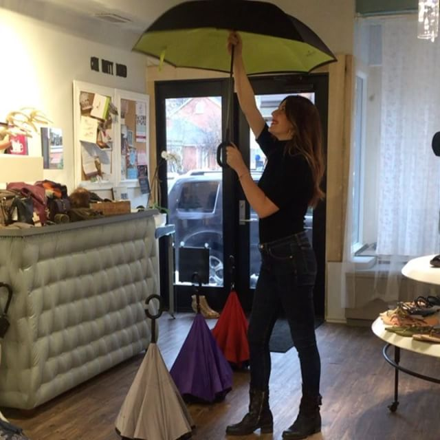Umbrella by Patrizia Luca Milano. At Solee Shoes on Locke. $50 Colour: grey,lime or purple interior. Prefer not the red.