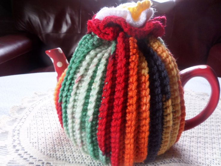 tea cosy, hand crochet cosy, striped tea cozy, hand made tea cosy, ribbed style cosy, six cup size tea cosy, flower topknot, Betty style pot by MaddisonsRainbow on Etsy
