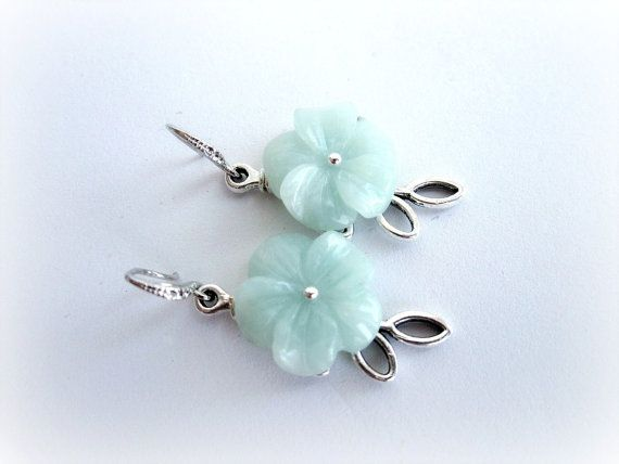 Amazonite flower earrings floral earrings by MalinaCapricciosa