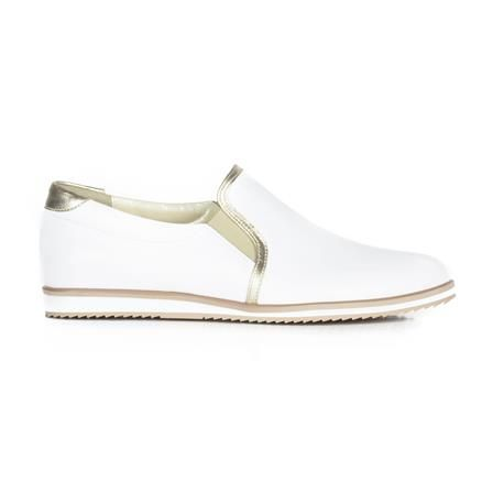 Joana & Paola White/Gold Loafers, Choose Size