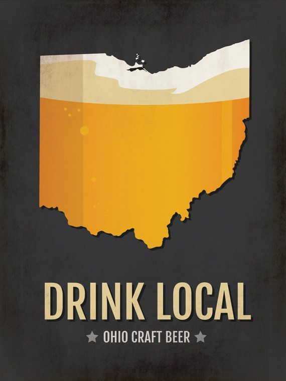 Ohio Beer Print Map Oh Drink Local Craft Beer Sign Vintage