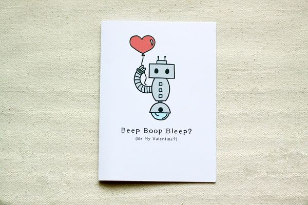 Robot Valentine 'Beep Boop Bleep' Note Card on the redditgifts Marketplace