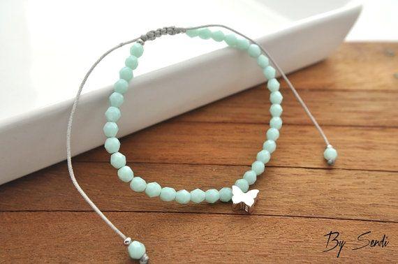 Sterling Silver Butterfly Beaded bracelet, Butterfly pendant, silver Butterfly, Butterfly 3D, silver bracelet, beaded bracelet, silver Beads, bridal…
