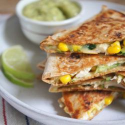 Healthy Chicken Quesadillas are Loaded with Vegetables with an Avocado Salsa on the Side