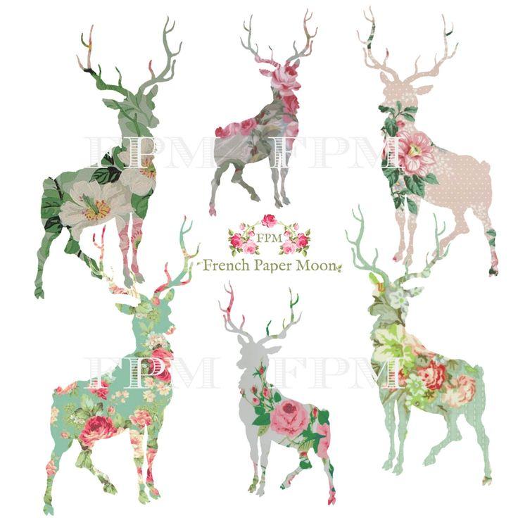 Digital Christmas Deer, Reindeer Clipart, Digital