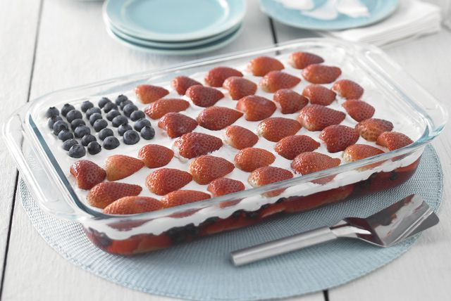 This patriotically patterned strawberry-blueberry cheesecake is just the thing to bring to your next summer potluck.