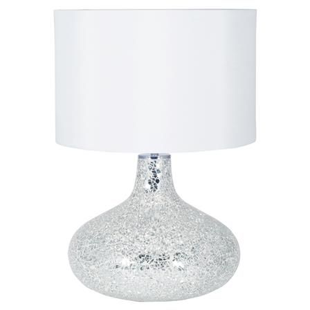 Mirror Mosaic Table Lamp in White with Cylinder Shade