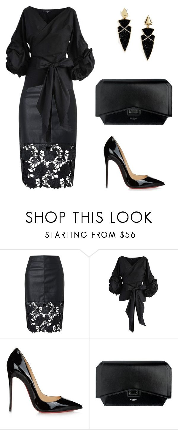 """""""050. Correcting wide hips in Dramatic style"""" by sollis ❤ liked on Polyvore featuring Chicwish, Christian Louboutin, Givenchy, BaubleBar, black, dramatic, partystyle and widehips"""