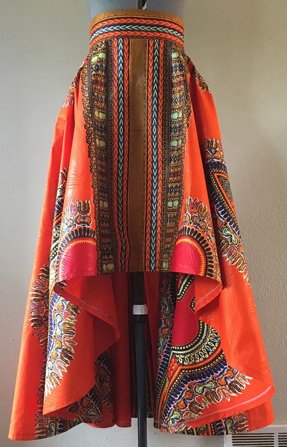 Firery Orange Dashiki High Low Maxi Skirt Circle Cut With