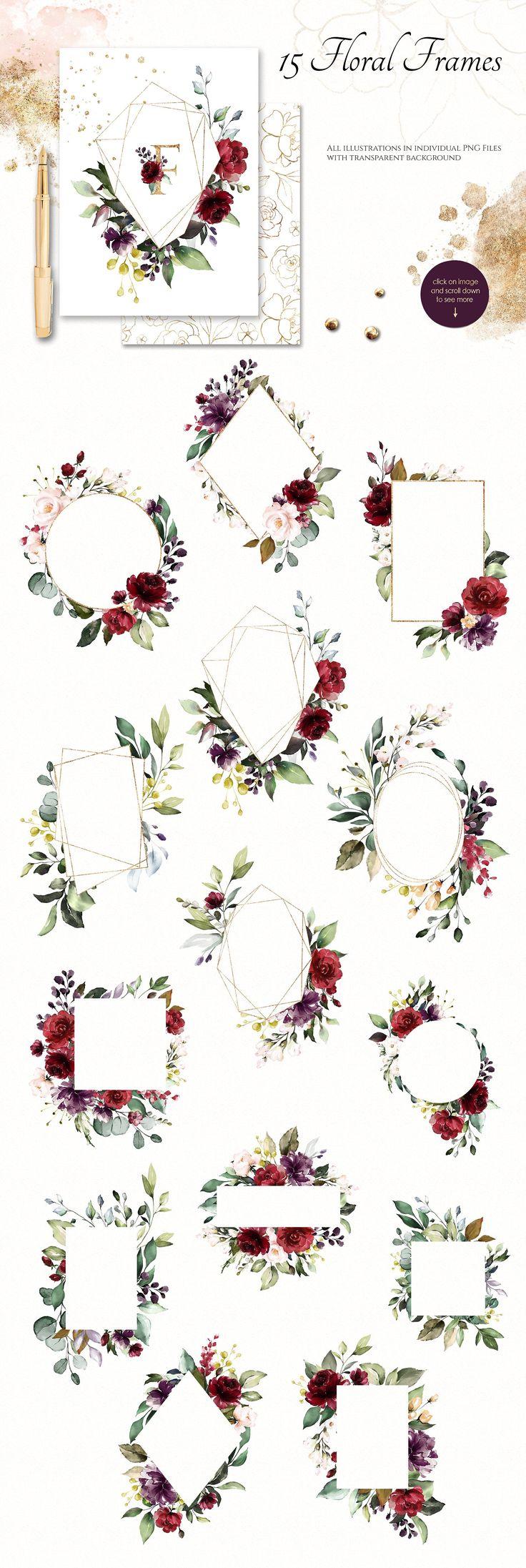 Aquarell Blumen Set – Goldener Kuss von Lisima auf …