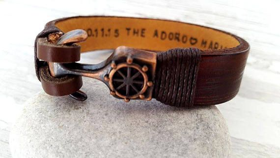 Personalized Leather Bracelet  Father's Day Gifts