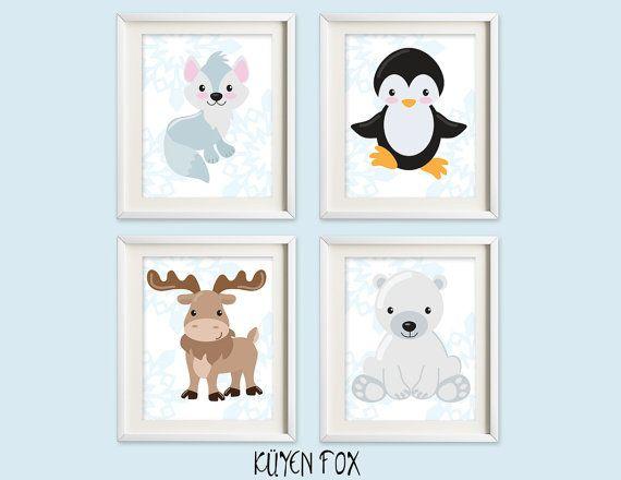 Winter animals wall art  artic nursery art  fox by KuyenFox