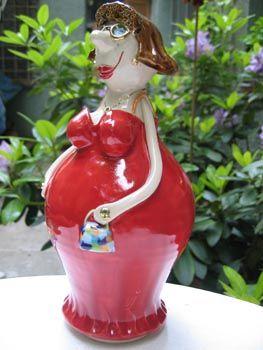 Gabi Winterl Keramik, Gartenfigur, Dame, Ton, Einzelstück, handgefertigt, Handarbeit