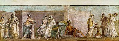 """Характерным примером может служить фреска, известная под названием """"Альдобрандинская свадьба"""" и хранящаяся теперь в Ватиканской библиотеке,— есть все основания думать, что она представляет собой римскую копию с греческого оригинала из времен Апеллеса."""