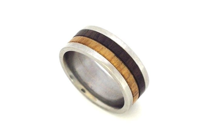 Titanium with dark and light wood inlay by Rings & Things