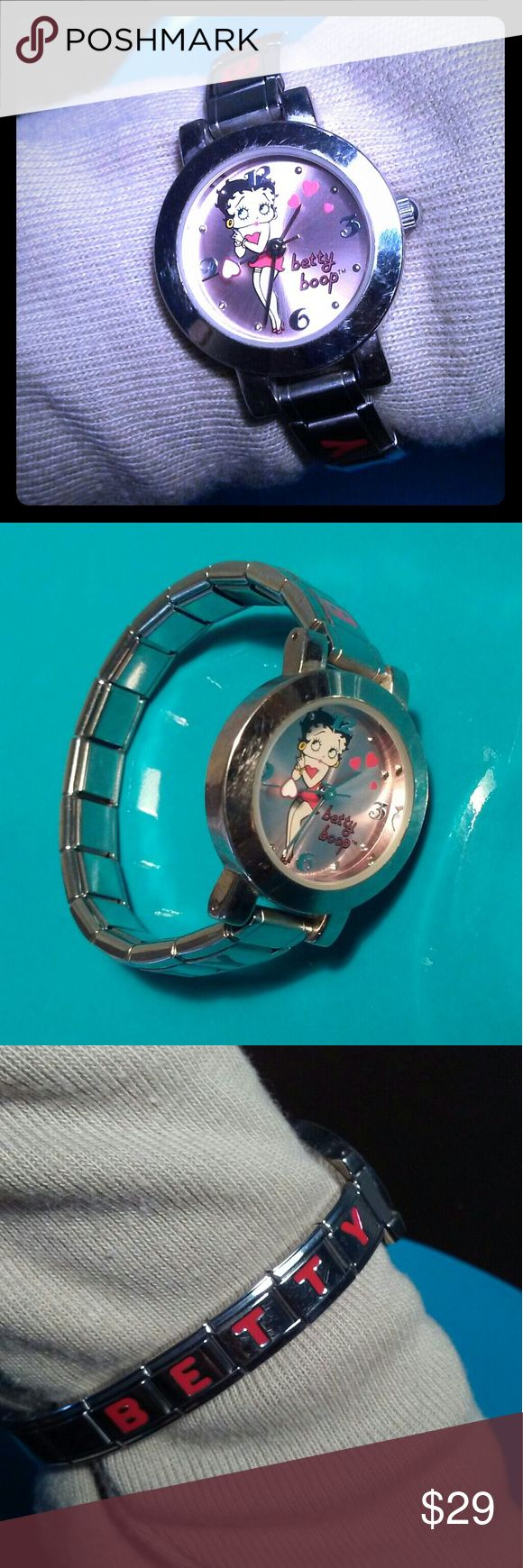 """Betty Boop Watch Betty Boop red dress watch with """"Betty"""" & """"Boop"""" written down the sides. Stainless steel. Elastic band.   ❄ Love it, but hate the price? Make me a reasonable offer... I'm open to barter and trade too. Betty Boop Jewelry"""