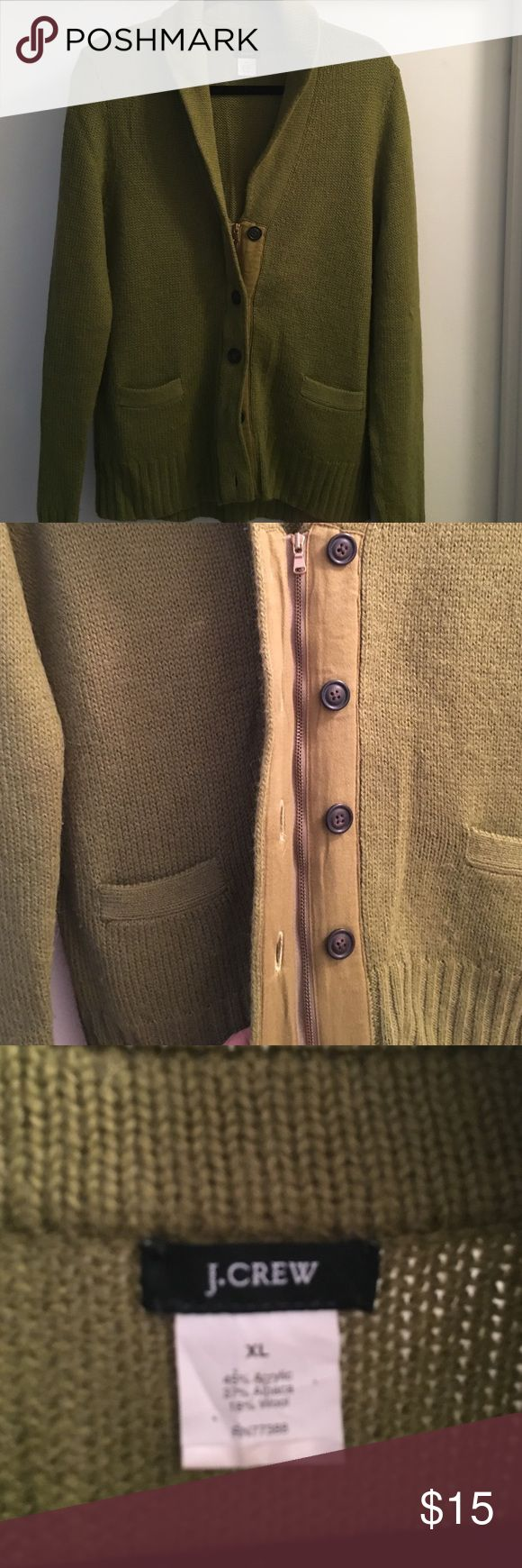 J.Crew Ladies Sweater Sz XL in green Beautiful J.Crew Ladies Shawl Collar Cardigan.  Has a zip front closure and you can either button all the way up or button a few and show the zipper!  2 pockets .  Gently used but in great condition!!! J. Crew Sweaters Cardigans