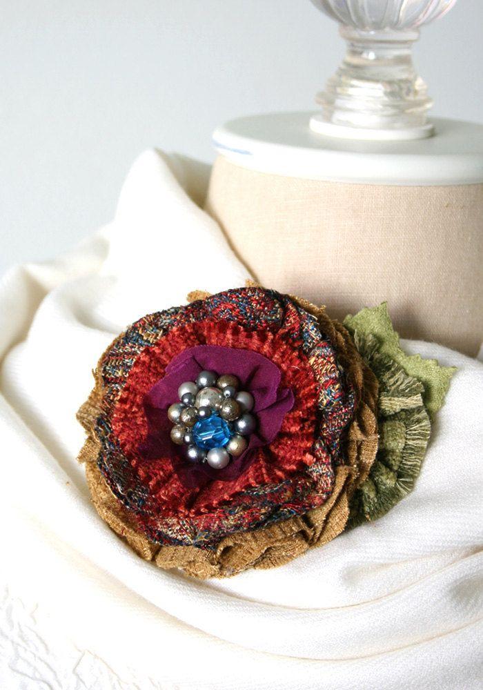 Ткань брошь цветок Ткань цветок контактный корсаж на rosyposydesigns