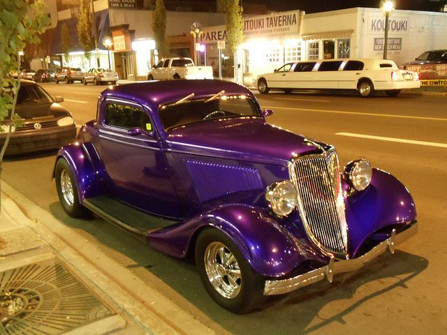 1934 Ford 3-window coupe with a chopped top. A real looker. That purple really pops! By mfriel81