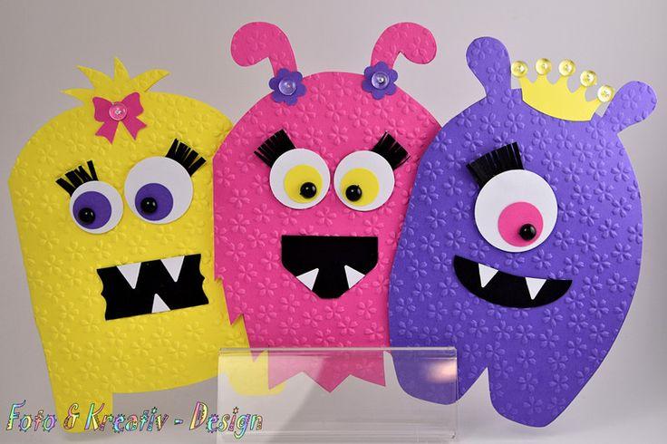 Einladungskarten - Monster Girl - Einladungen - Set - 3 Stk. - ein Designerstück…
