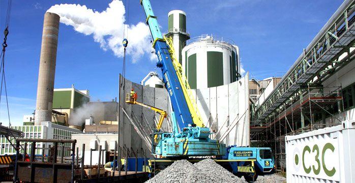Montage prefabricerad betongtank för Södra Cell i Mörrum