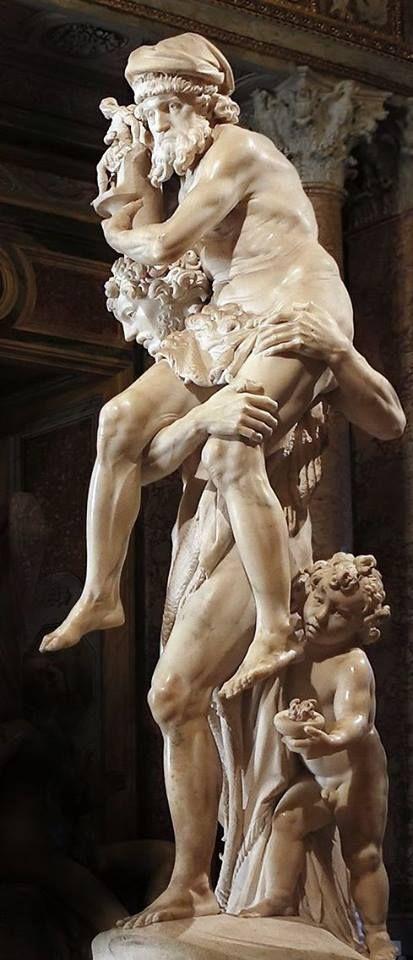 Gian Lorenzo Bernini (Italia, 1598-1680) - Eneas, Anquises y Ascanio , 1618-19. Mármol, 220 cm de altura (Galería Borghese, Sala del gladiador - Roma, Italia).  Representación de Eneas huyendo de Troya llevando sobre sus hombros a su padre Anquises, quien lleva a los penates o dioses del hogar, y su hijo Ascanio detrás, quien transporta el fuego sagrado del hogar.
