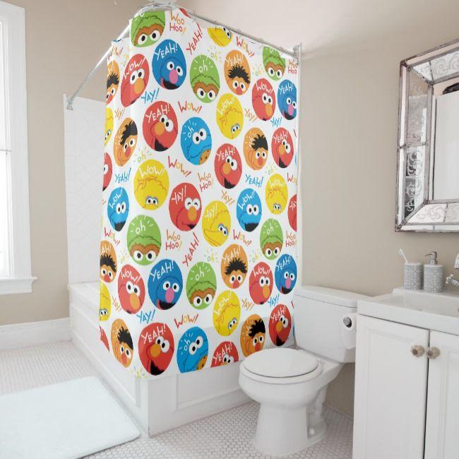 Sesame Street Circle Character Pattern Shower Curtain Zazzle Com
