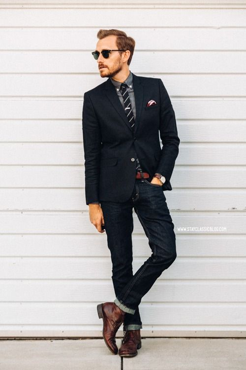 """July 2, 2014. Blazer: Linen - H&M - $59 (similar)Shirt:J. Crew Factory- $29Jeans:Levi's 511in Rigid Dragon- Nordstrom - $50Boots:Steve Madden Bristole Chukka- $79 (Foot Locker) (similar)Tie: AllSaints Outlet - $8Tie Bar: 1"""" Silver Shot-The Tie Bar- $15Pocket Square: Monroe Plaid #PC493 -The Tie Bar- $8Watch:Stillwell in Chocolate- Jack Spade (c/o)Sunglasses:Ray Ban Clubmaster- $89Belt:J. Crew Factory- $22 Shop this outfit or similar:  //"""