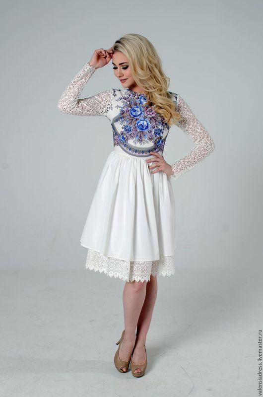 Платье белое, платье с кружевом короткое, платье в русском стиле