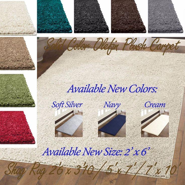 Shag Area Rug Solid Color Thick Soft Home Olefin Plush Carpet Small Medium Large #Mainstays #Contemporary