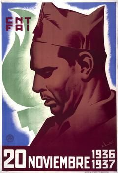 20 Noviembre 1936 1937Portrait of Buenaventura Durruti [leader of Anarchist Militia] to mark the first anniversary of his death. The portrait is in tones of deep red, and behind Durruti is a liberty torch in green. text:CNT FAI 20 Noviembre 1936 1937. E. Vicente....