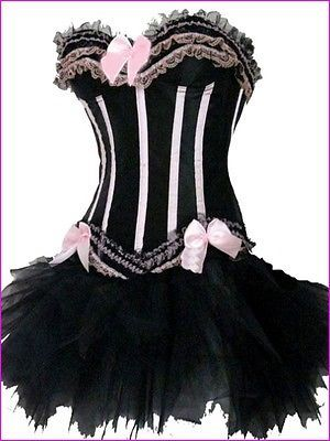 Burlesque-Moulin-Rouge-Can-Can-Tutu-Fancy-Dress-Costume-Corset-Outfit-Many-Style