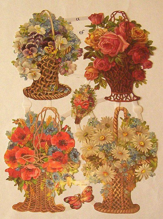New German Victorian flower baskets daisies roses pansies poppies scrap sheet diecuts ef 7183 scrapbooking decoupage collage craft art
