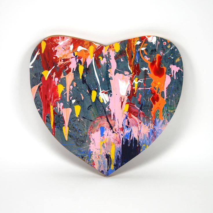 Heart, 2014, painting on woodenpanel 33x31cm- Dennis Happé