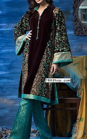 Brown/Turquoise Velvet Suit | Buy Amna Aqeel Pakistani Dresses and Clothing online in USA, UK