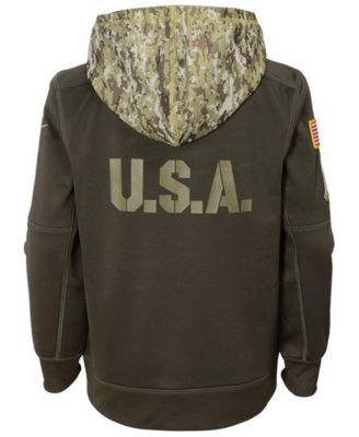 Nike New England Patriots Salute To Service Therma Hoodie, Big Boys (8-20) - Green XL