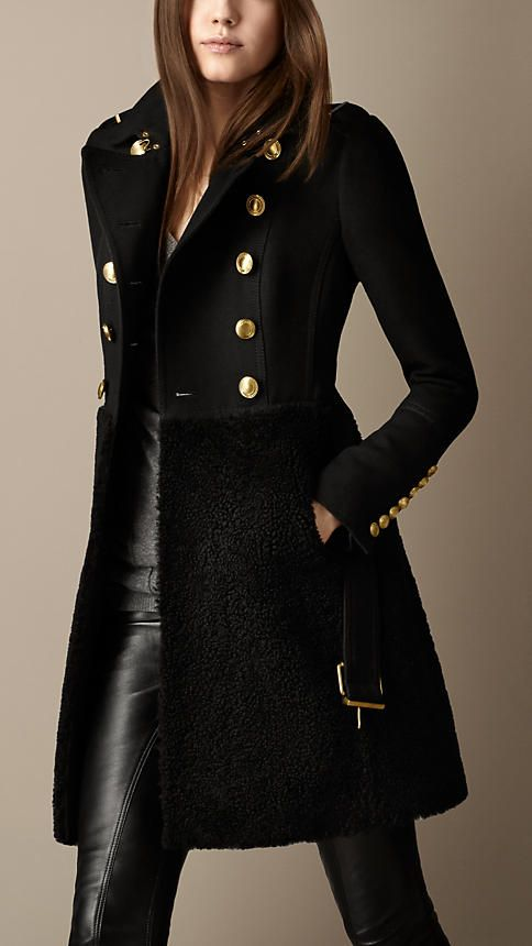 Shearling Skirt Fitted Coat | Burberry