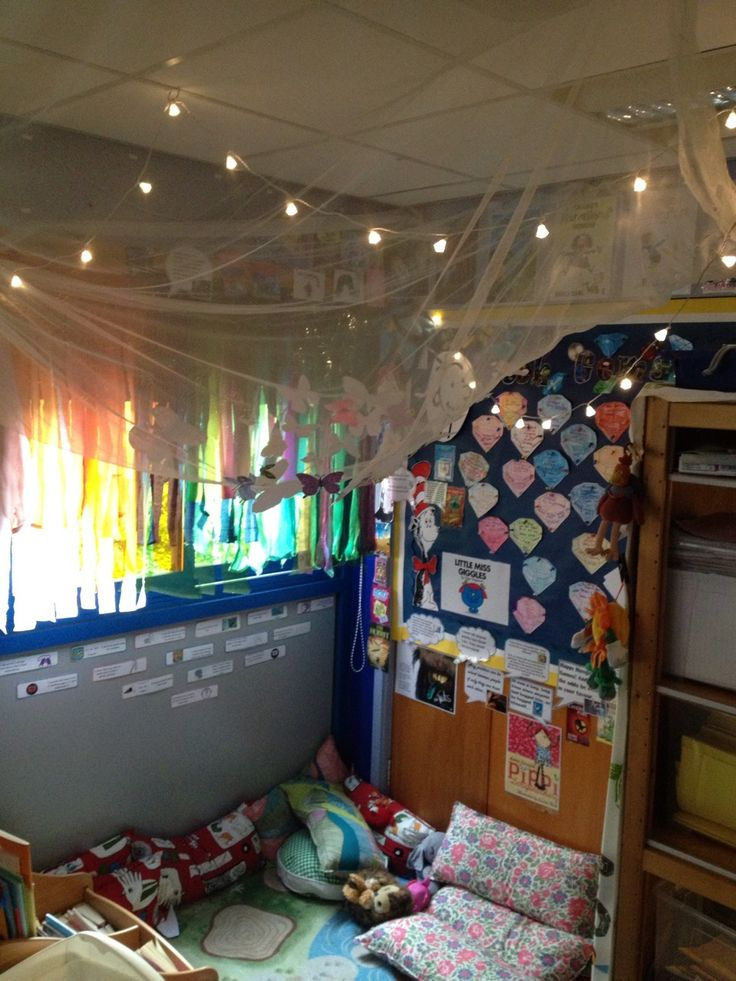 A classroom should have a quiet area to read with comfortable seating and is well lighted. (Short et al., 2011, p. 250-251 & 265-266). Classroom reading corner