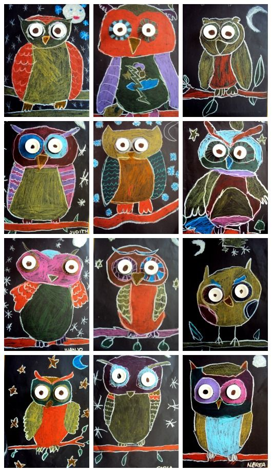 Chalk pastel owls with stand out eyes .... 2nd or 3rd grade art project, art lesson idea
