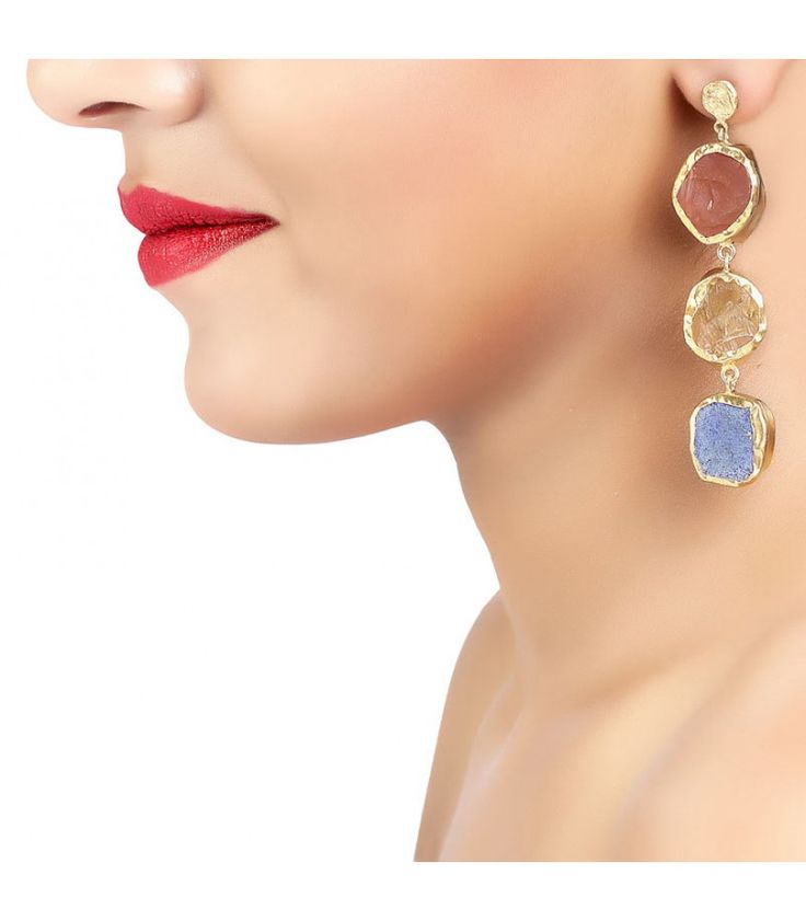 The Spirited Three Carnelian Citrine Blue Lapis Earrings by Zariin. Hand crafted with carnelian,citrine and blue lapis in 22kt gold plating. See the collection at www.zariin.com   #carnelian #citrine #blue #lapis #goldplated #earrings #zariin #jewelry