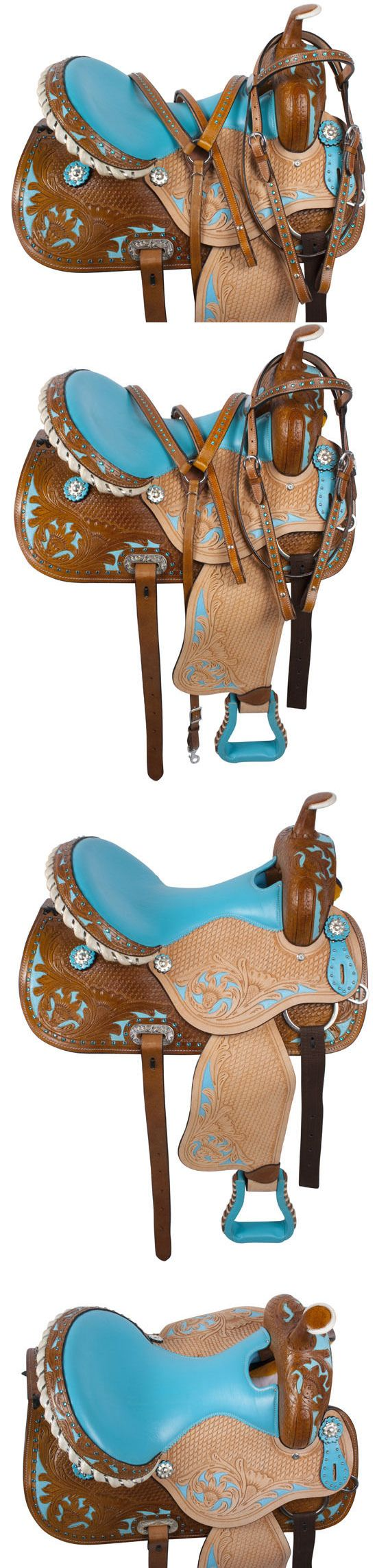 Saddles 47291: 15 16 Turquoise Barrel Racing Racer Pleasure Trail Western Horse Saddle Tack Pkg BUY IT NOW ONLY: $284.99