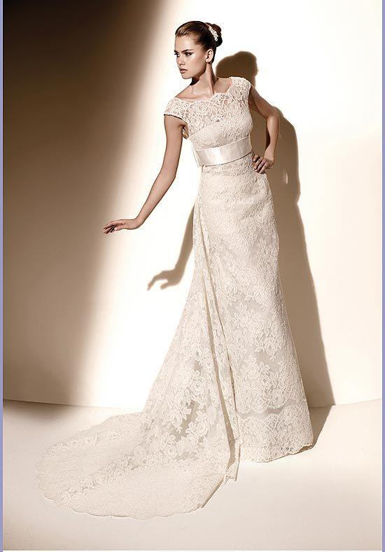 Online Sale 2012 Sleek Scoop Empire Bowknot Ribbon Lace Satin Ivory Wedding Frocks (LACEWD-098)