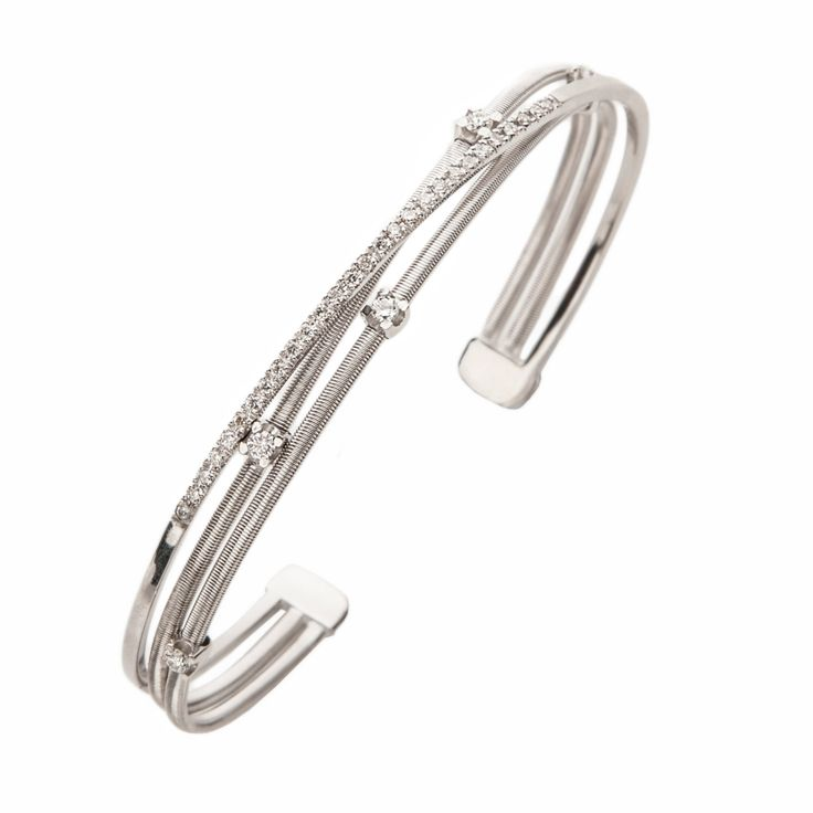18Kt Solid White Gold Diamond and Knite String Series Ladies