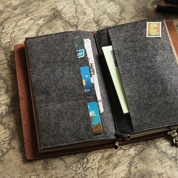 This listing is for: 1 x Card Organizer for MIDORI standard size Leather Journal  Keep your cards and receipts in order with our felt card organizer!
