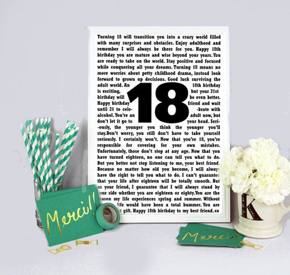 Best Friend 18th Birthday Digital Print  by DecorNurseryPrints