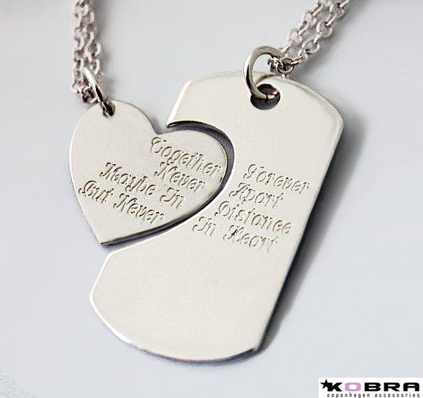 Dogtag i sølv med sølv hjerte inklusiv gravering på bagsiden!