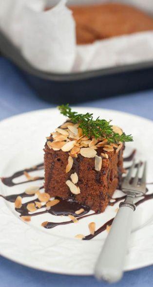 Chocolate cake with raisins and brandy