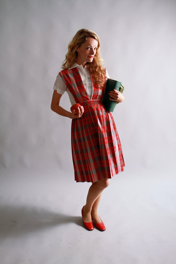 vintage plaid school uniform / red plaid pinafore / vintage fall fashion / by coralvintage, $88.00